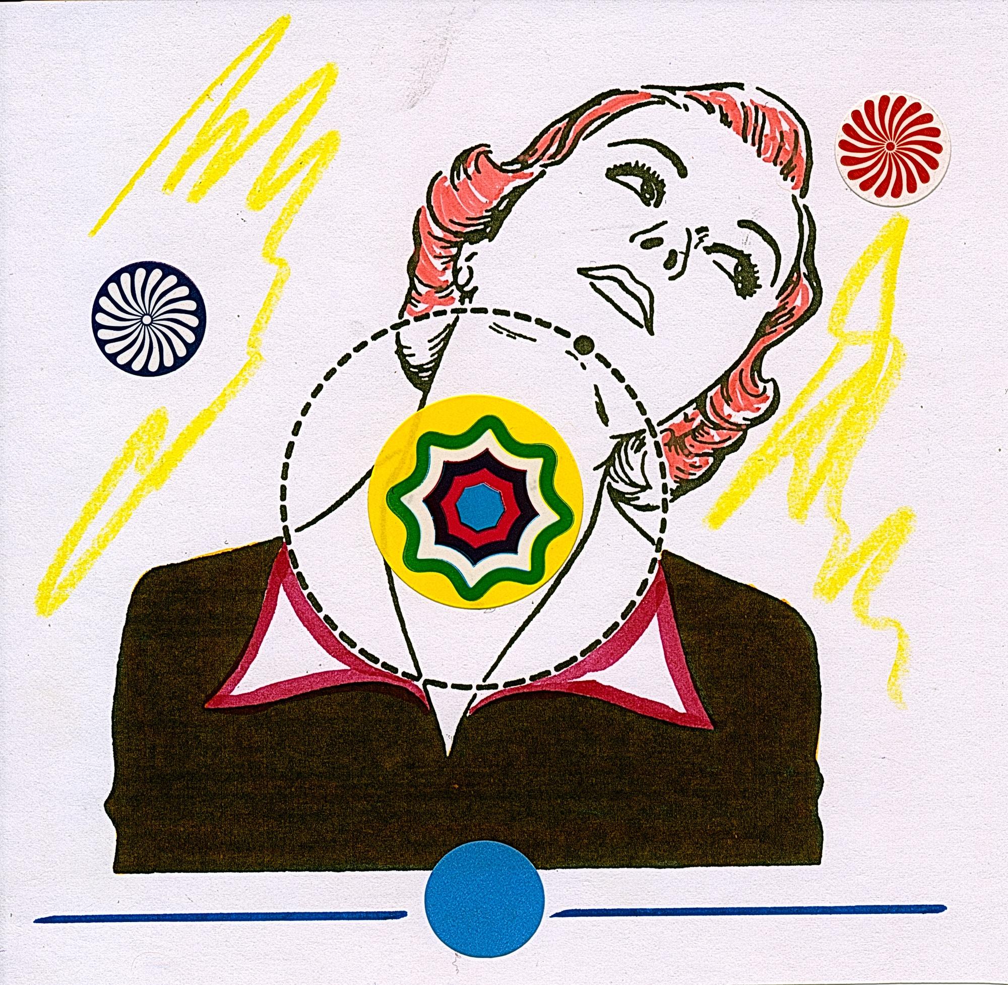 Übermalung und Mischtechnik auf Papier, cmxcmcm, Originalgrafik zum gleichnamigen Booklet, Künstlerin: Franziska King