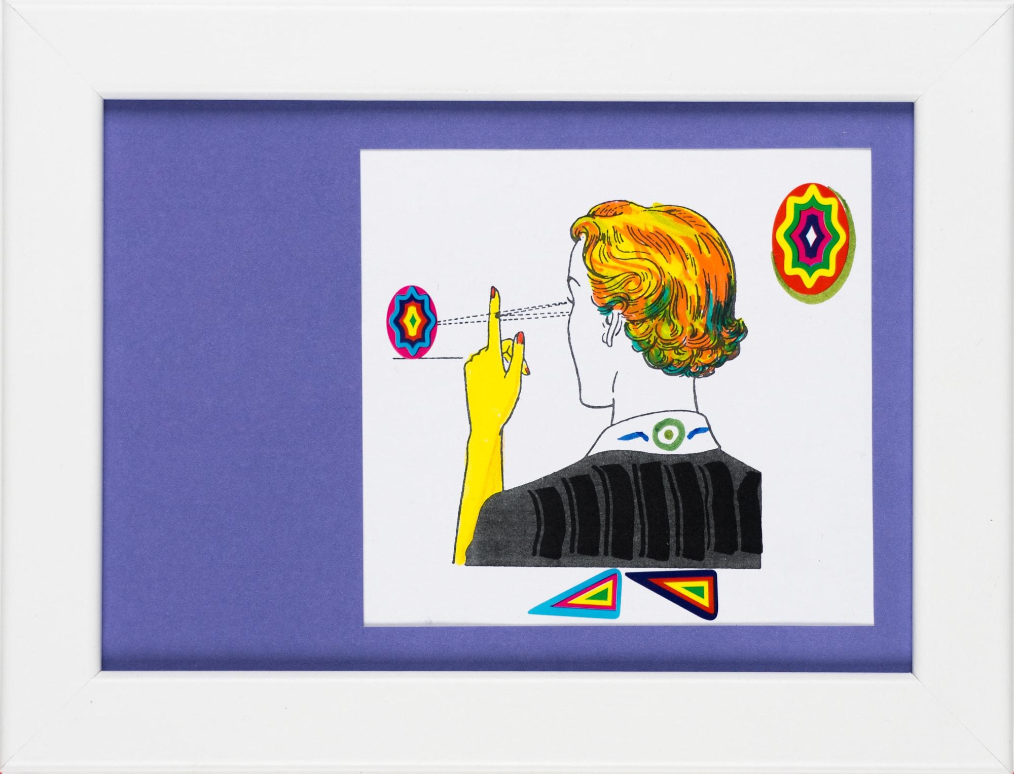 Übermalung und Mischtechnik auf Papier, 10,7x10cm, Originalgrafik zum gleichnamigen Booklet, Künstlerin: Franziska King