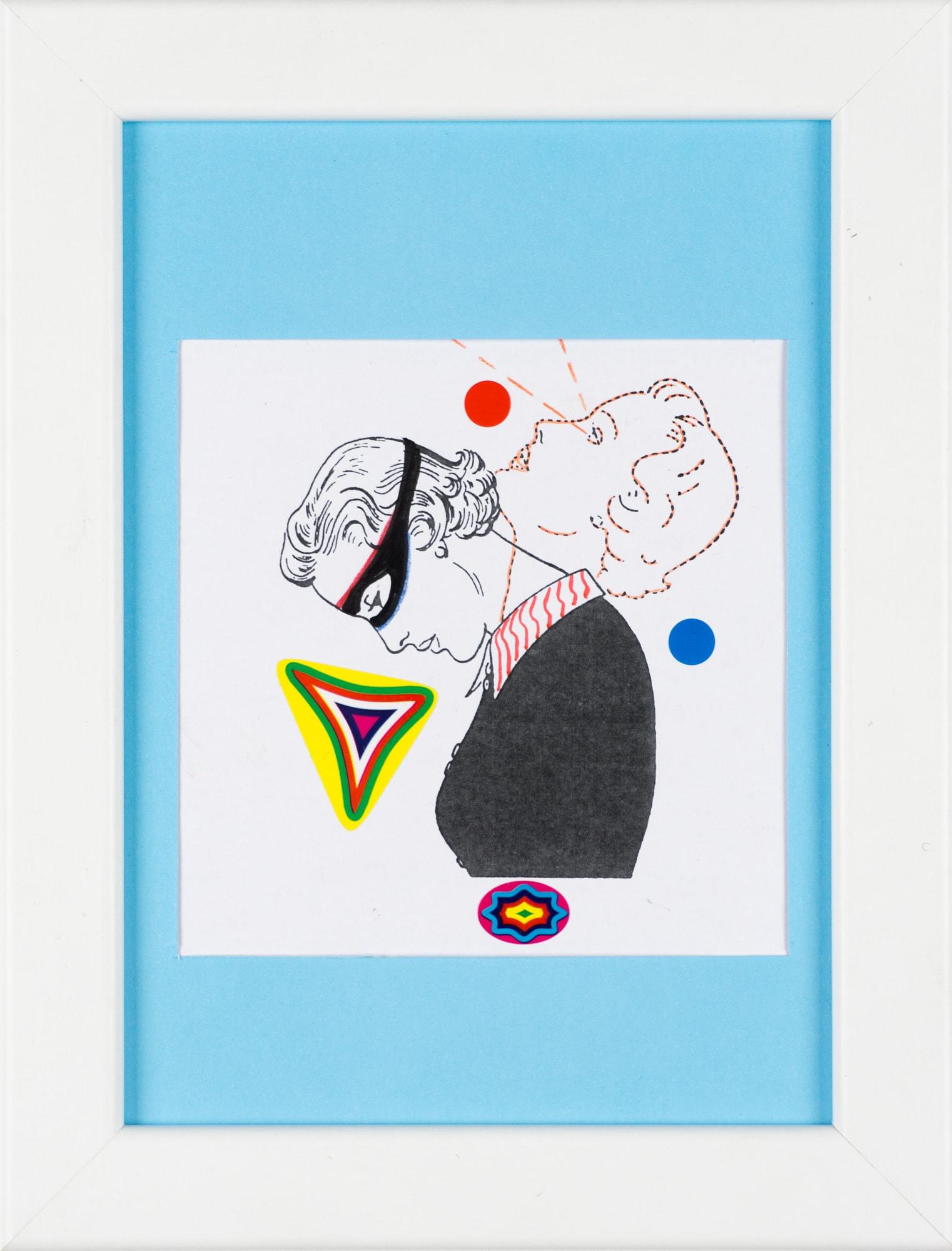 Übermalung und Mischtechnik auf Papier, 10,3x10,4cm, Originalgrafik zum gleichnamigen Booklet, Künstlerin: Franziska King