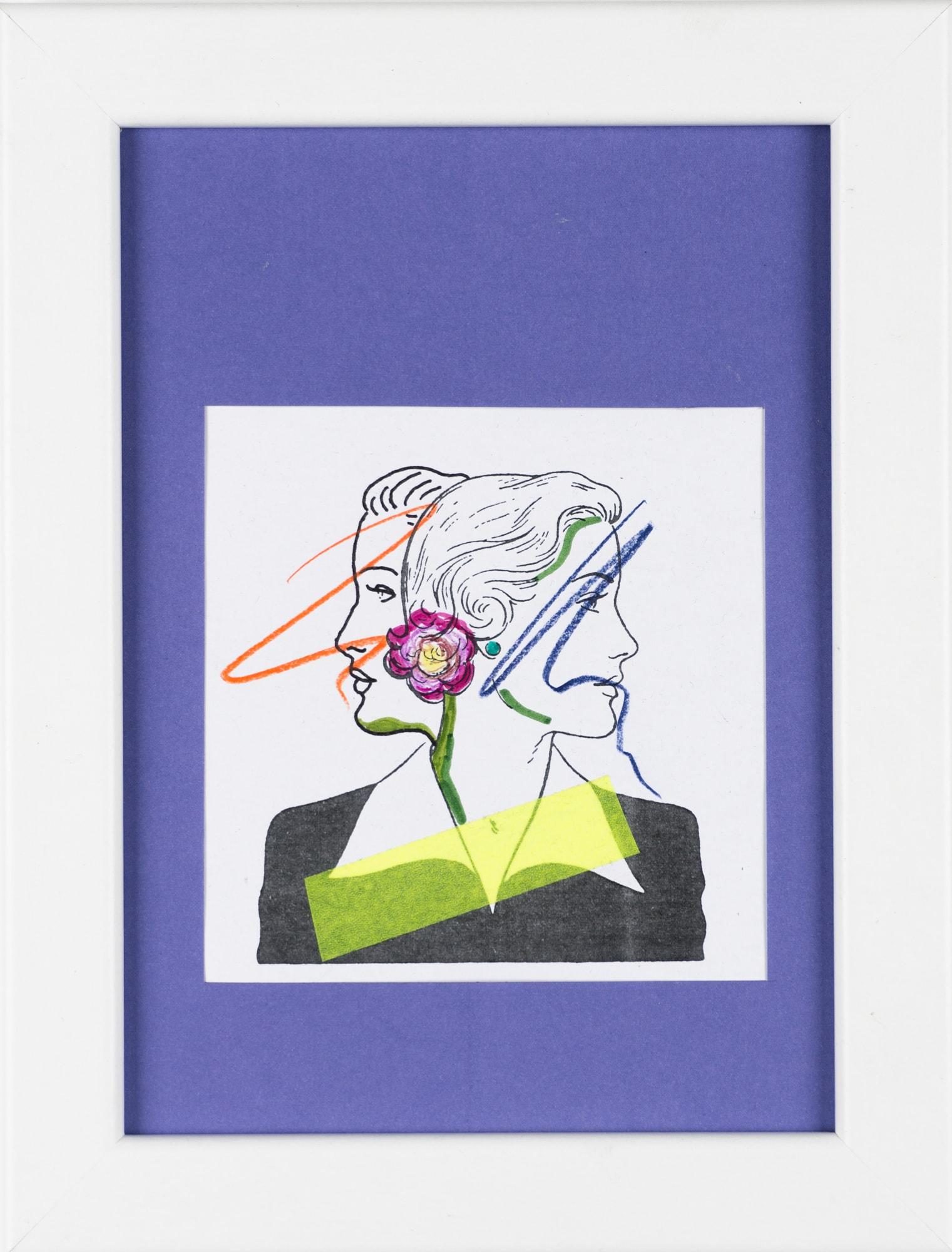 Übermalung und Mischtechnik auf Papier, 9,5x9,7cm, Originalgrafik zum gleichnamigen Booklet, Künstlerin: Franziska King