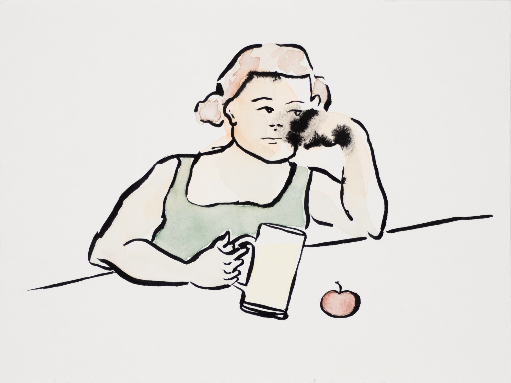 Zeichnung, Aquarell und Tusche auf Papier, 24x18cm, Frau mit Krug, Künstlerin: Franziska King