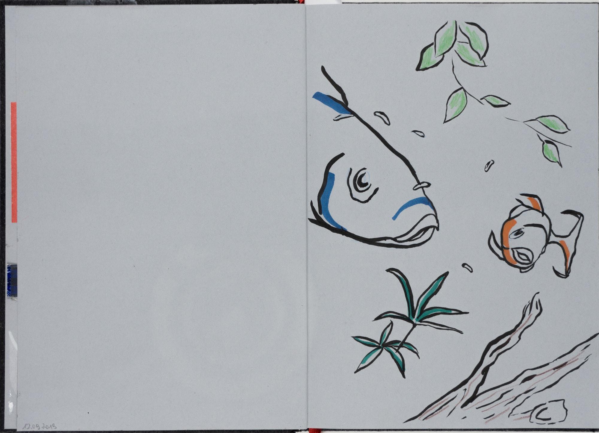 Zeichnung, Tuschemarker auf Papier, 14,7x21cm, Fische, Künstlerin: Franziska King