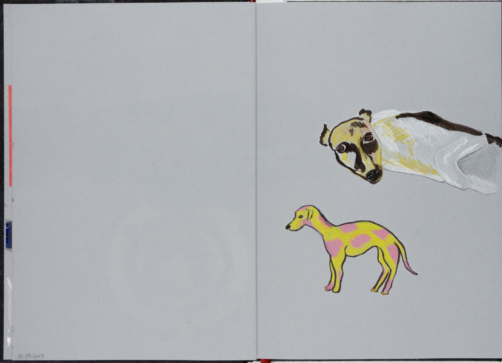 Zeichnung, Farbstift und Tusche auf Papier, 14,7x21cm, Hunde, Künstlerin: Franziska King