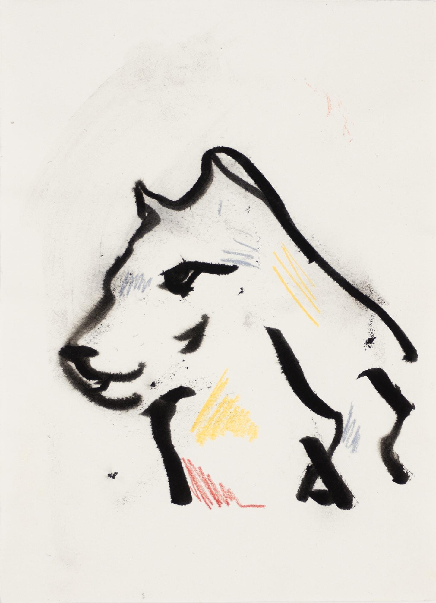 Zeichnung, Farbstift und Tusche auf Papier, 14,9x20,3cm, Wolf, Künstlerin: Franziska King