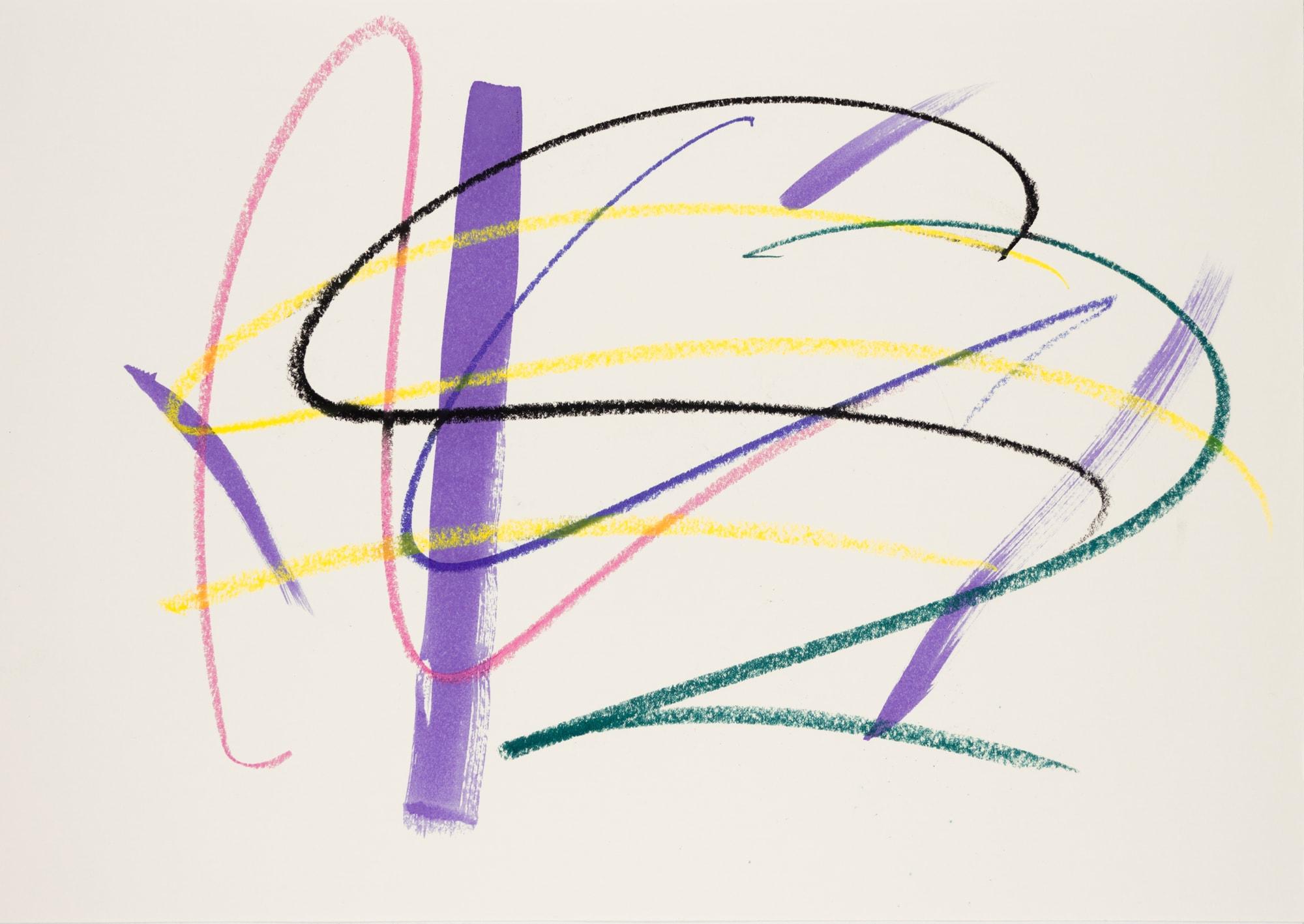 Zeichnung, Ölkreide und Tusche auf Papier, 42x29,7cm, abstrakt, Künstlerin: Franziska King