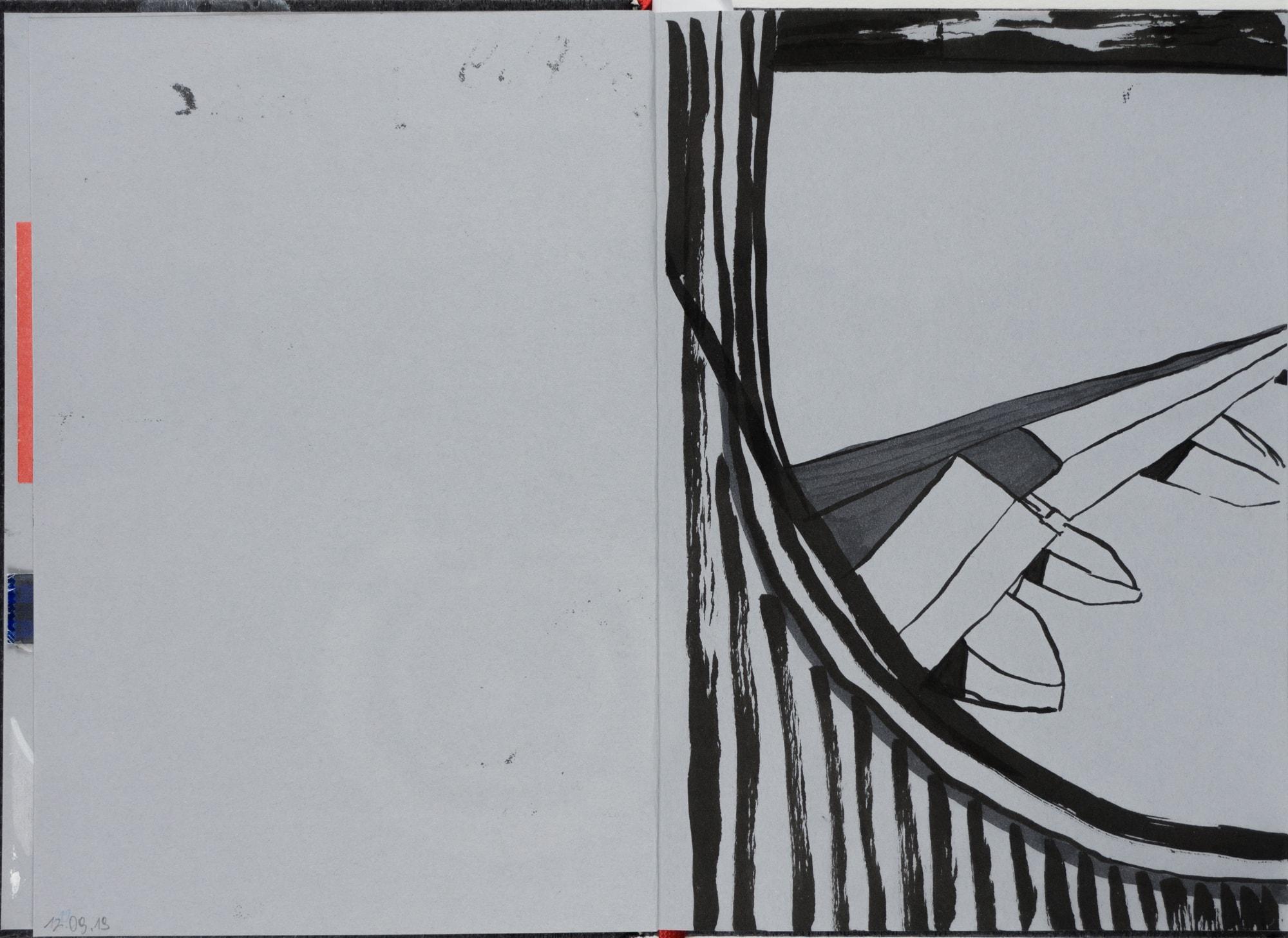 Zeichnung, Tusche auf Papier, 14,7x21cm, Blich aus Flugzeugfenster, Künstlerin: Franziska King