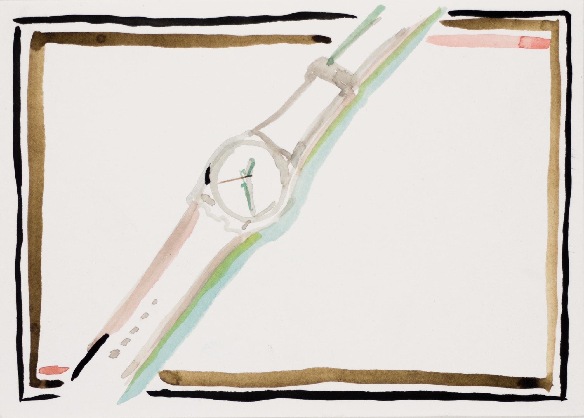 Zeichnung, Aquarell und Tusche auf Postkarte, 14,7x10,5cm, Uhr, Künstlerin: Franziska King