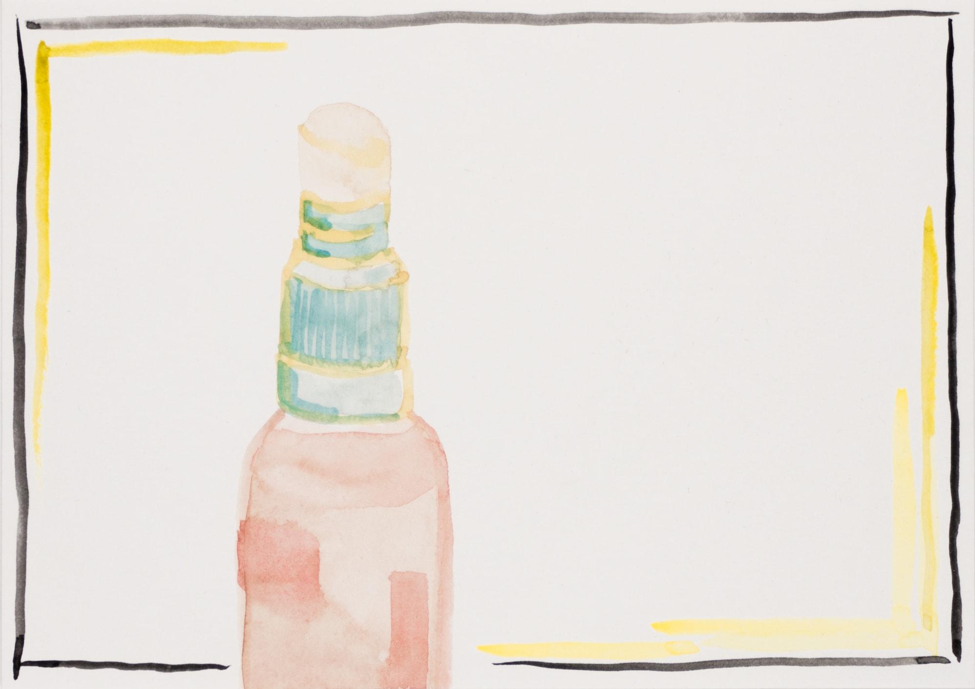 Zeichnung, Aquarell und Tusche auf Postkarte, 14,7x10,5cm, Flasche, Künstlerin: Franziska King
