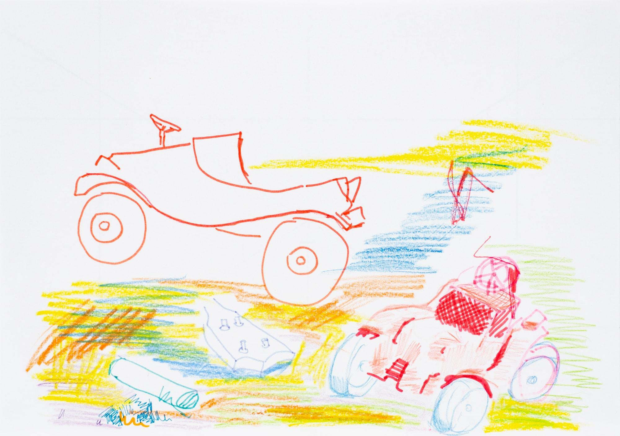 Zeichnung, Farbstift und Filzstift auf Papier, 29,7x21cm, Spielzeugauto, Künstlerin: Franziska King