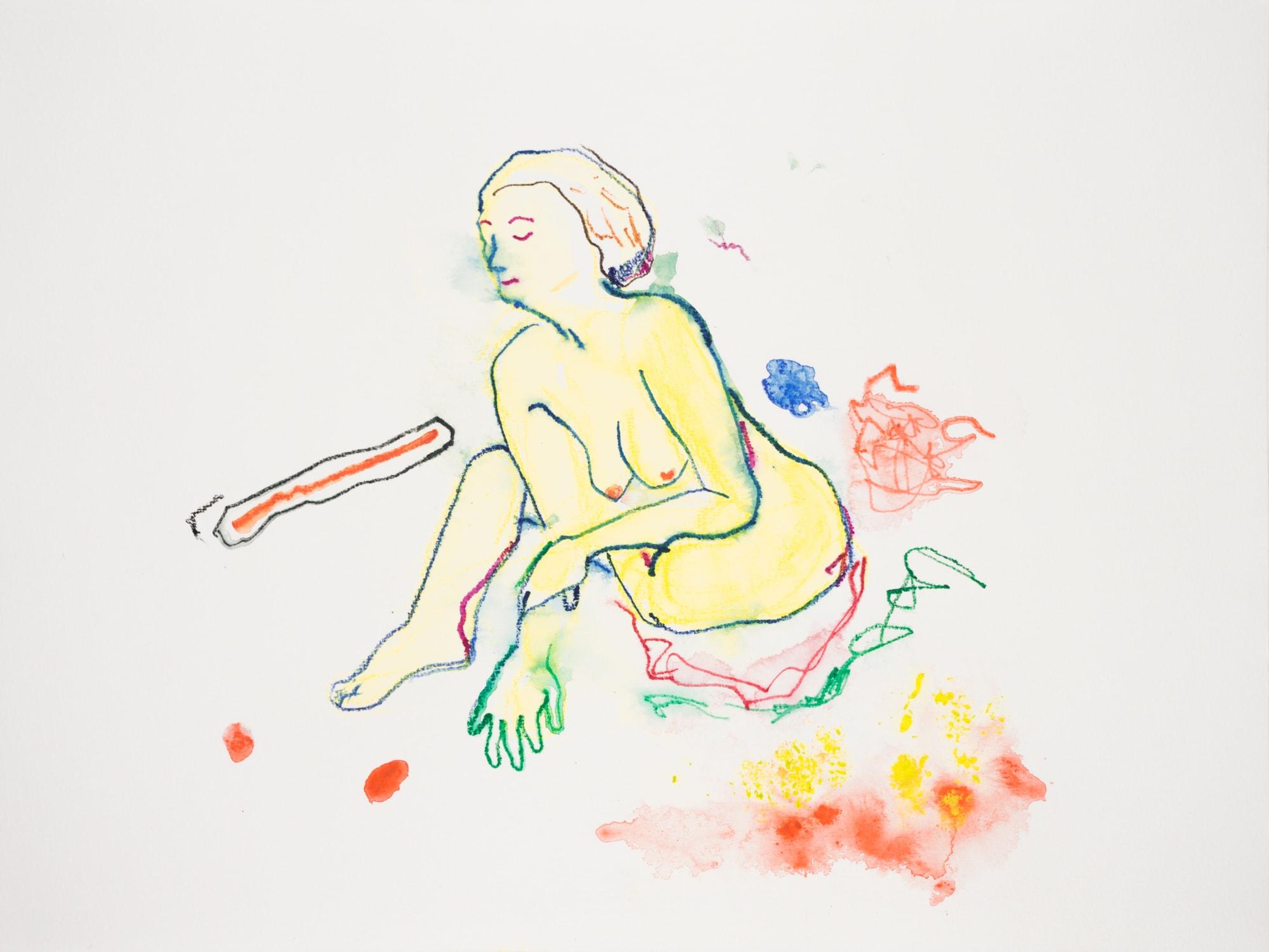 Zeichnung, Aquarell und Farbstift auf Papier, 40x30cm, Frauenakt, Künstlerin: Franziska King