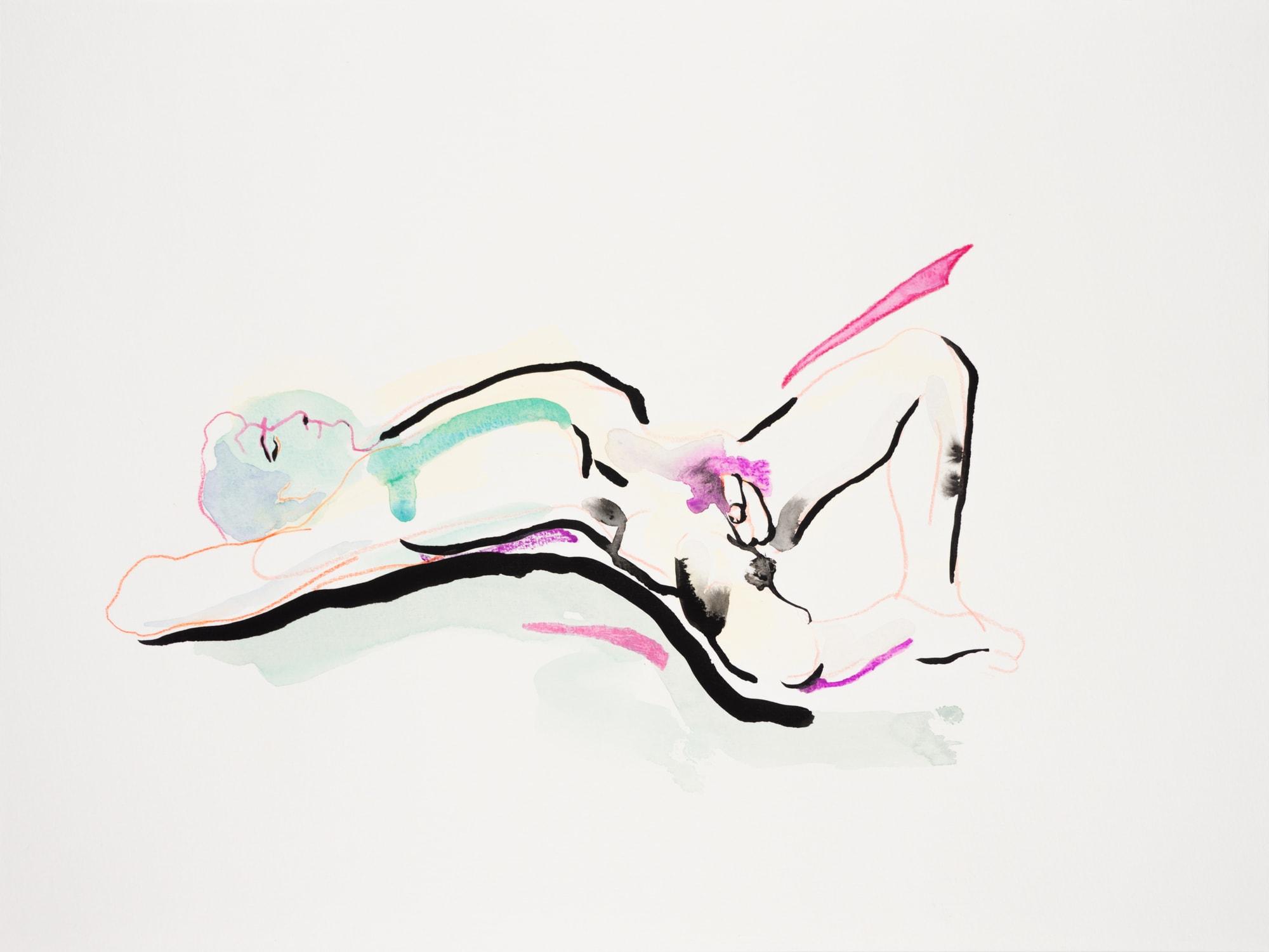 Zeichnung, Aquarell, Farbstift und Tusche auf Papier, 40x30cm, Männerakt, Künstlerin: Franziska King