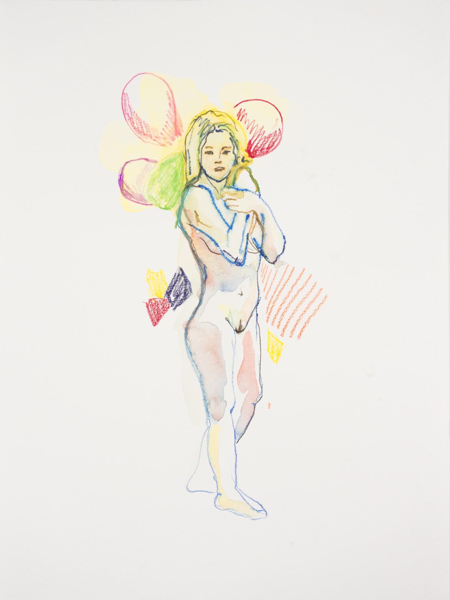 Zeichnung, Aquarell und Farbstift auf Papier, 30x40cm, Frauenakt mit Luftballon, Künstlerin: Franziska King
