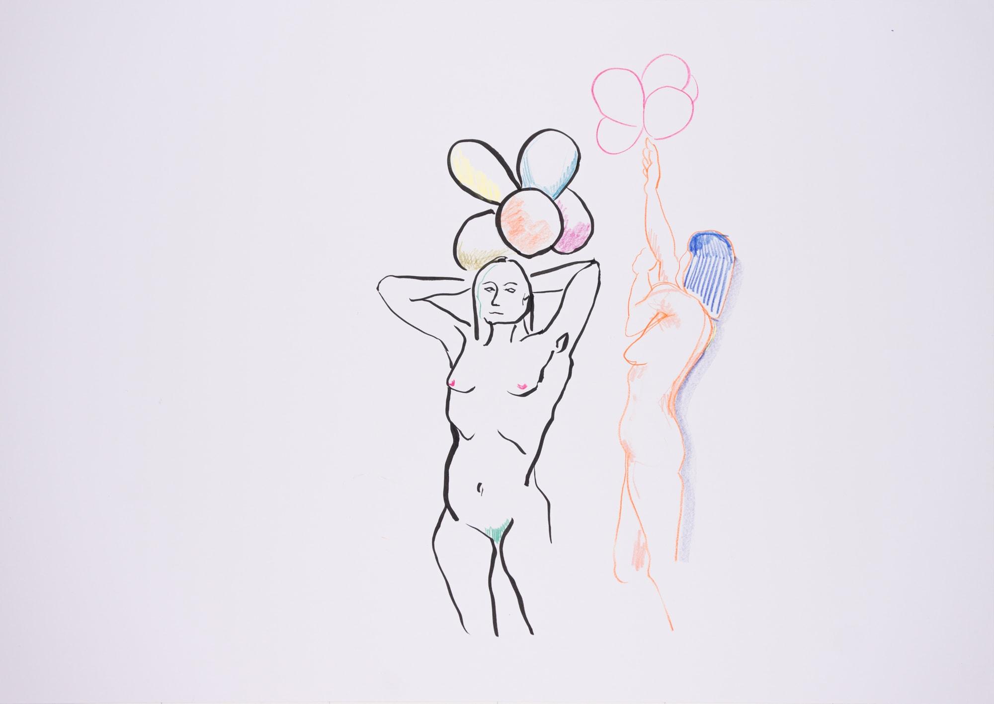 Zeichnung, Farbstift und Tusche auf Papier, 59,4x42cm, Frauenakt mit Luftballon, Künstlerin: Franziska King