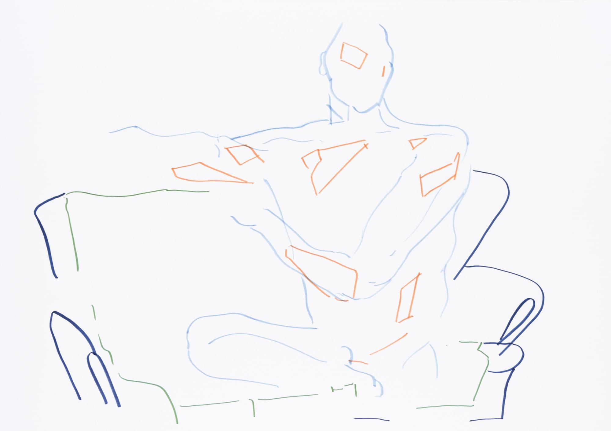 Zeichnung,Tuschemarker auf Papier, 59,4x42cm, Männerakt, Künstlerin: Franziska King