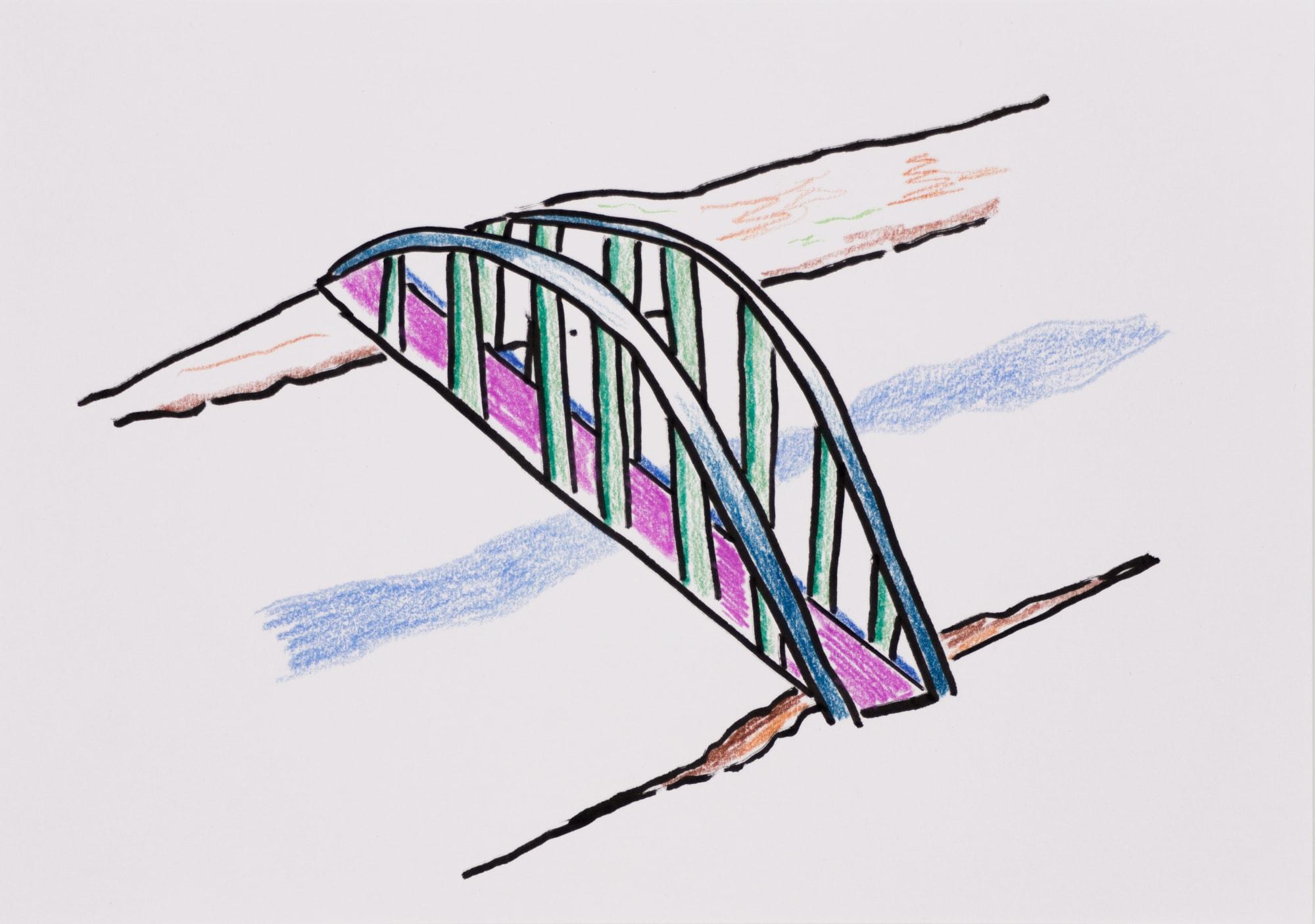 Zeichnung, Farbstift und Tusche auf Papier, 20,8x14,8cm, Brücke über Fluss, Künstlerin: Franziska King