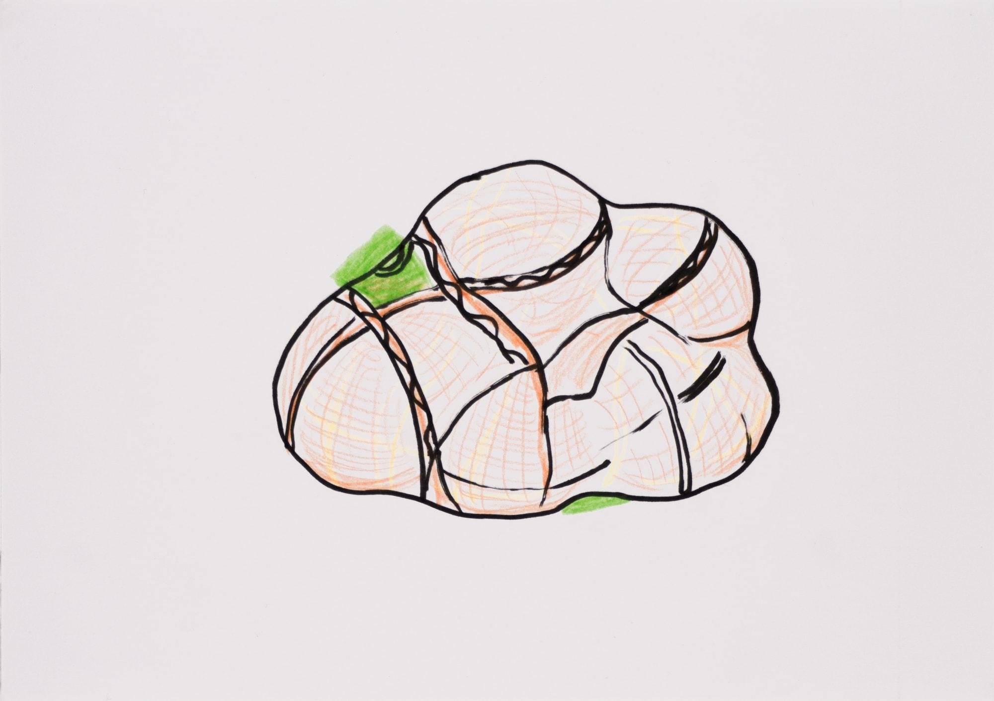 Zeichnung, Farbstift und Tusche auf Papier, 20,8x14,8cm, Ein Netz mit Orangen, Künstlerin: Franziska King