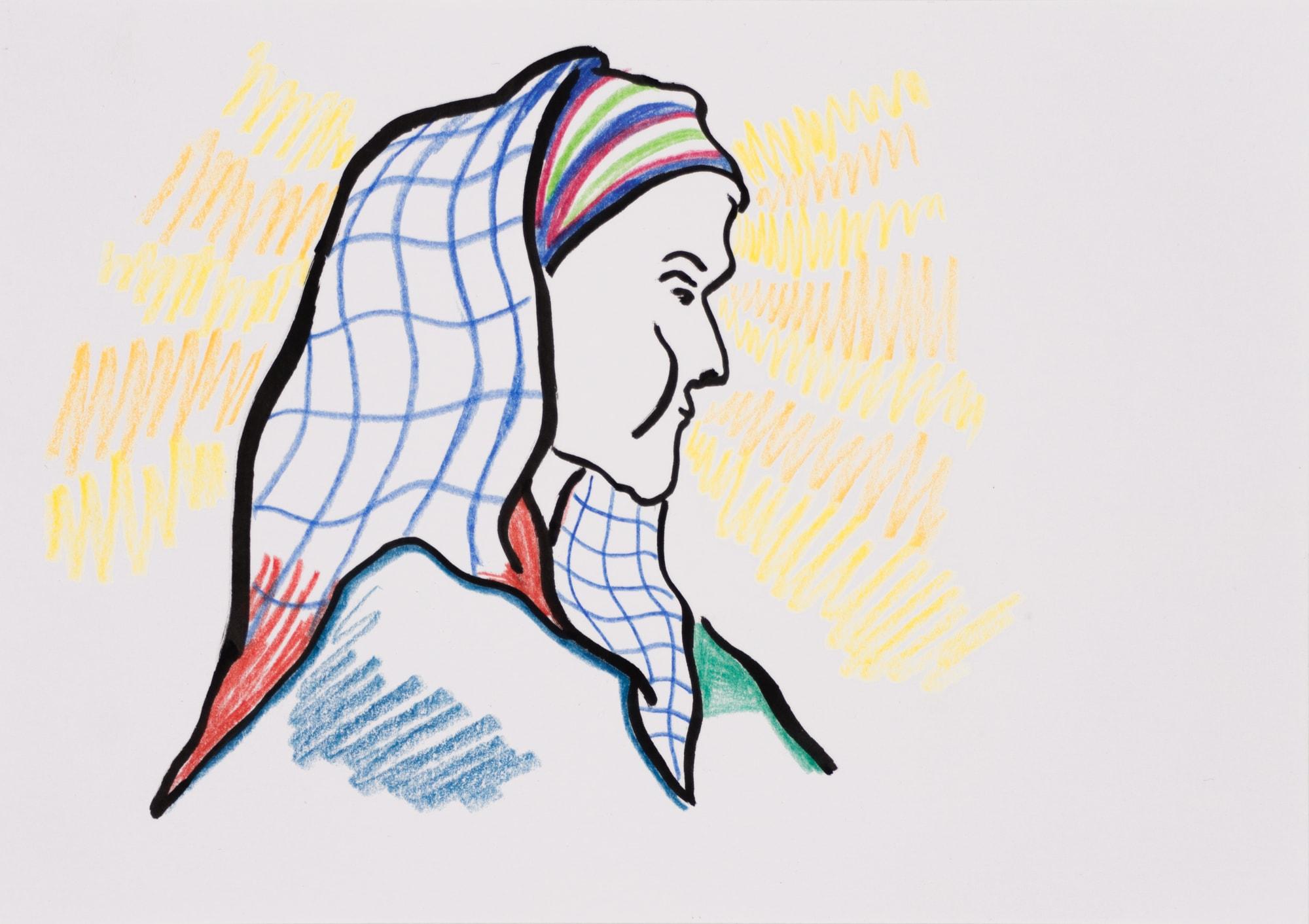 Zeichnung, Farbstift und Tusche auf Papier, 21x14,8cm, Hexe, Künstlerin: Franziska King