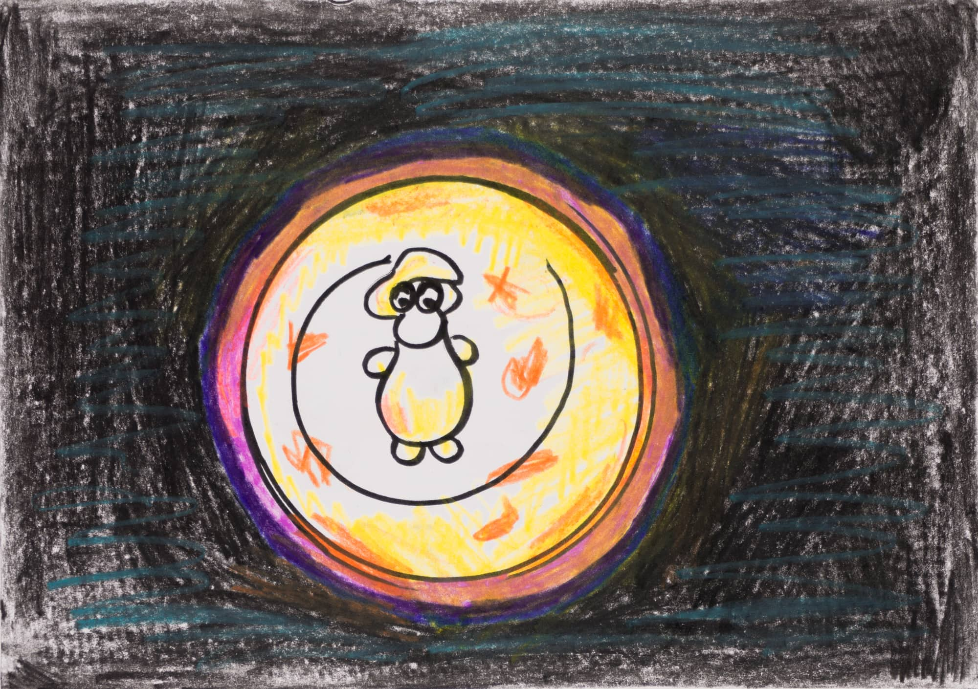 Zeichnung, Farbstift und Tusche auf Papier, 20,8x14,8cm, Der Mann im Mond, Künstlerin: Franziska King