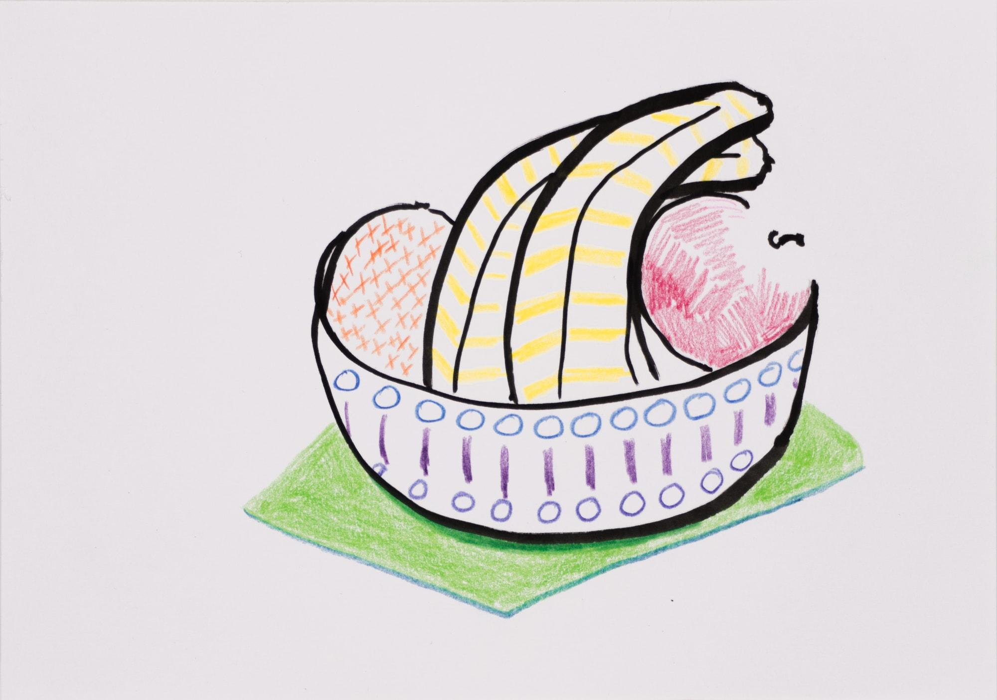 Zeichnung, Farbstift und Tusche auf Papier, 20,8x14,8cm, Obstschüssel mit Apfel, Banane und Ananas, Künstlerin: Franziska King