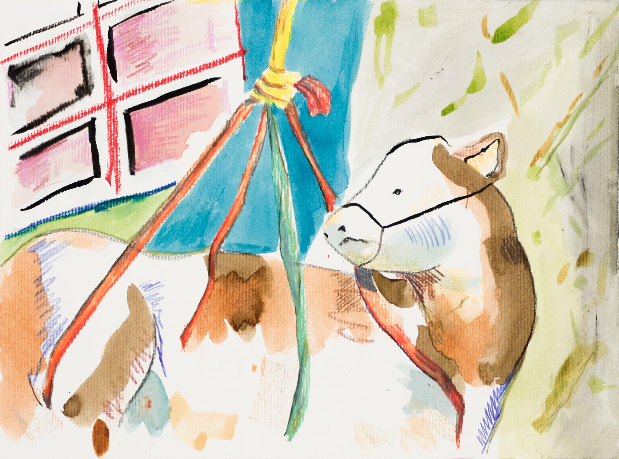 Zeichnung, Farbstift, Ölkreide und Tusche auf Papier, 28,3x21cm, Medienbild Corona, Künstlerin: Franziska King