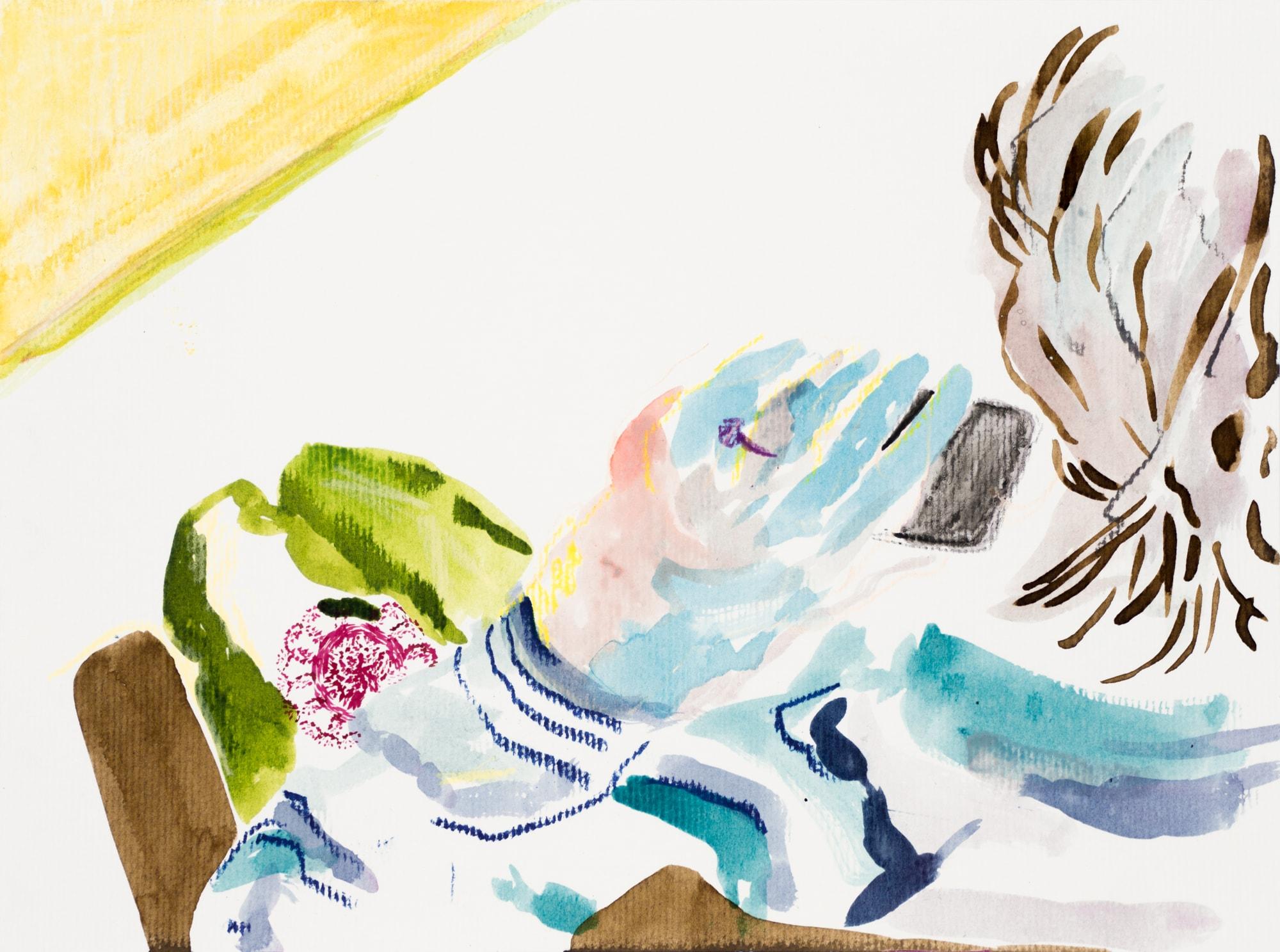 Zeichnung, Ölkreide und Tusche auf Papier, 28,3x21cm, Medienbild Corona, Künstlerin: Franziska King