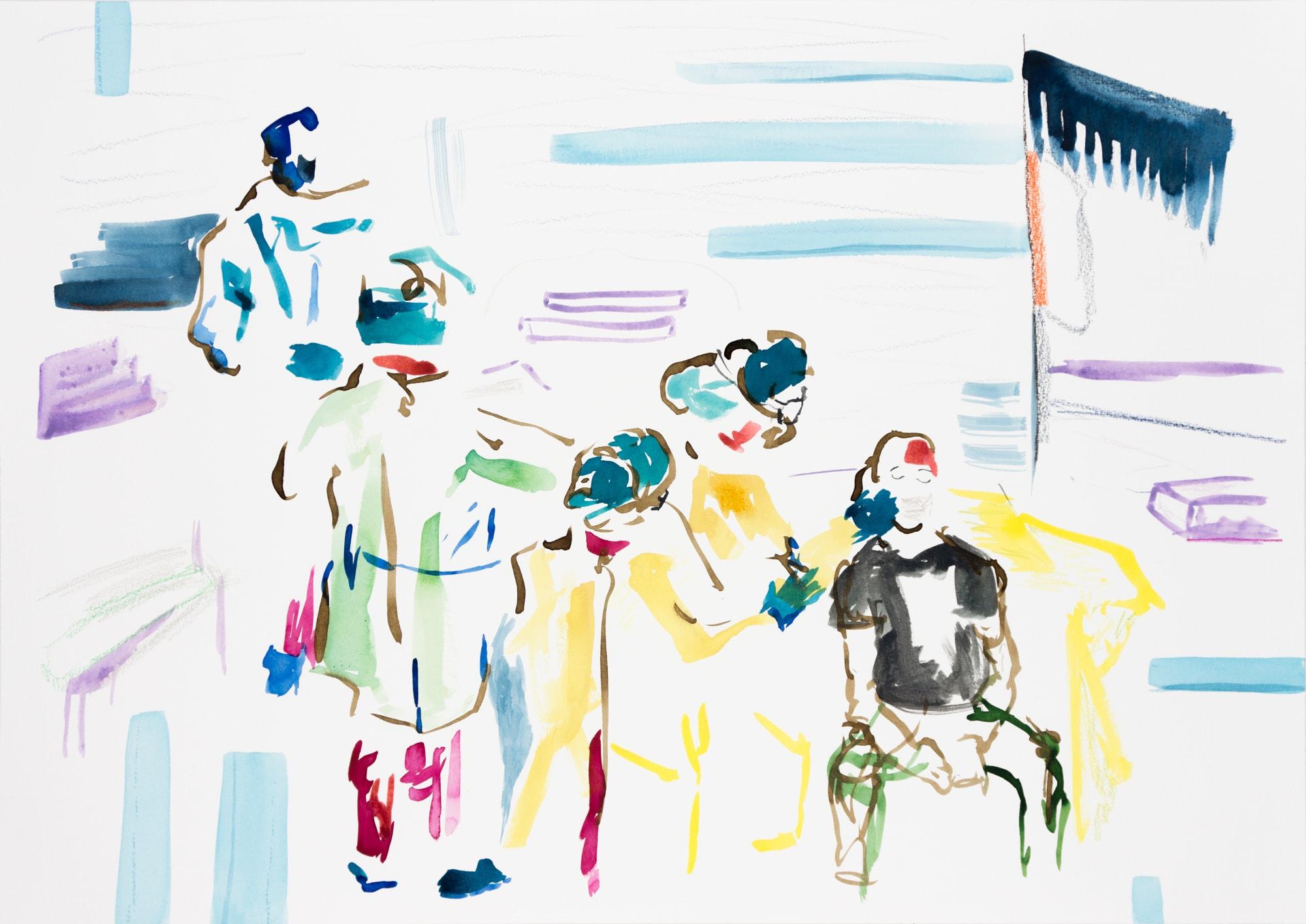 Zeichnung, Farbstift und Tusche auf Papier, 59,4x42cm, Medienbild Corona, Künstlerin: Franziska King