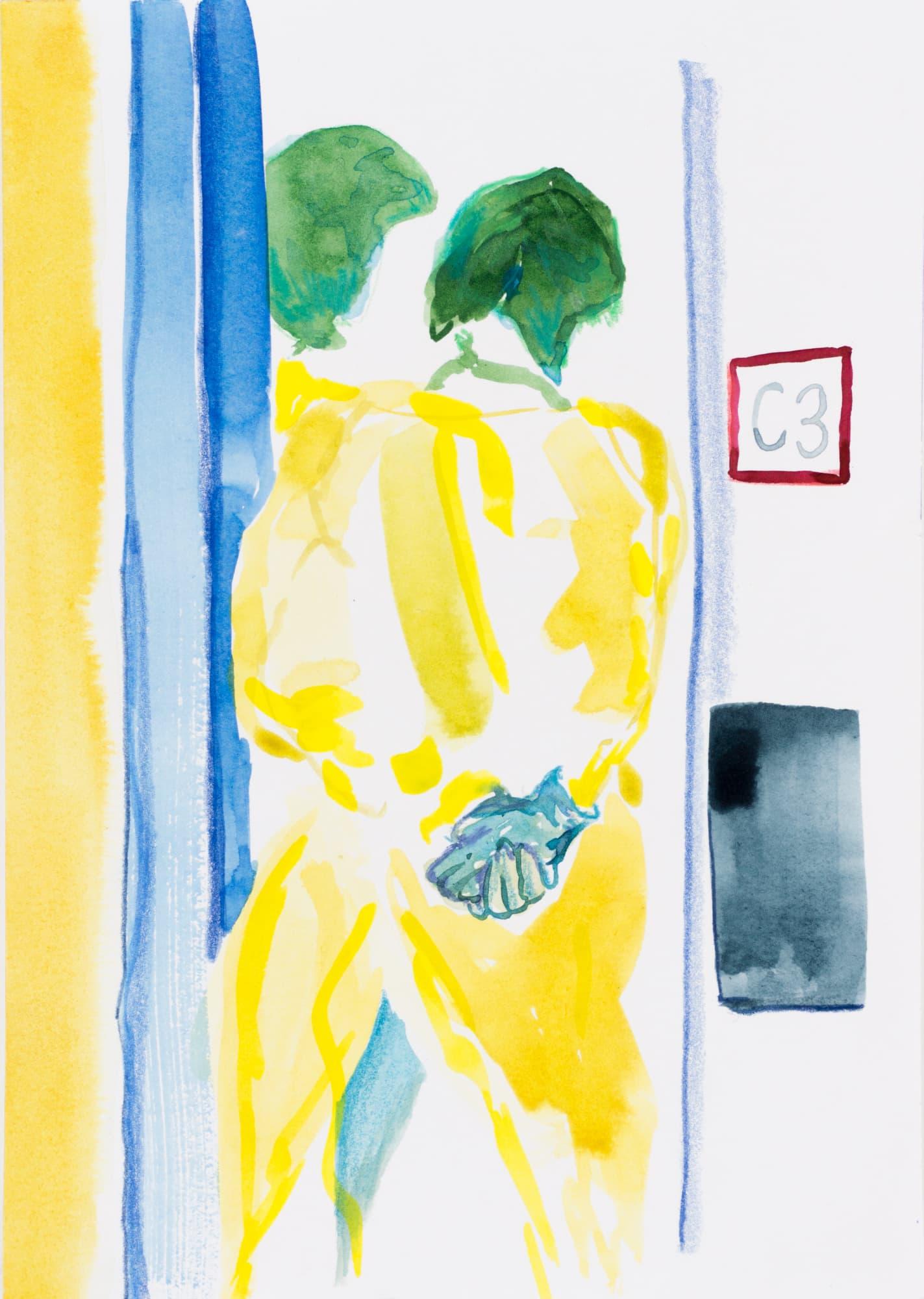 Zeichnung, Farbstift und Tusche auf Papier, 14,7x20,9cm, Medienbild Corona, Künstlerin: Franziska King