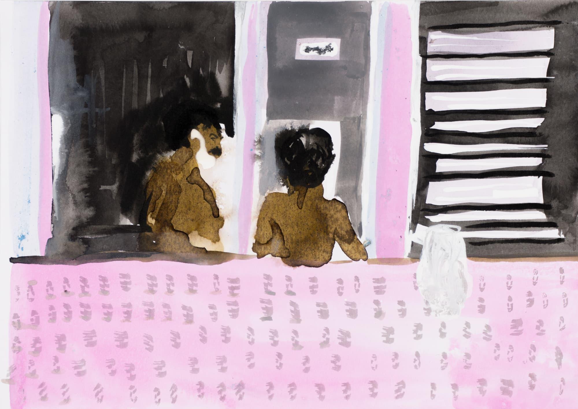 Zeichnung, Tusche auf Papier, 20,9x14,7cm, Medienbild Corona, Künstlerin: Franziska King