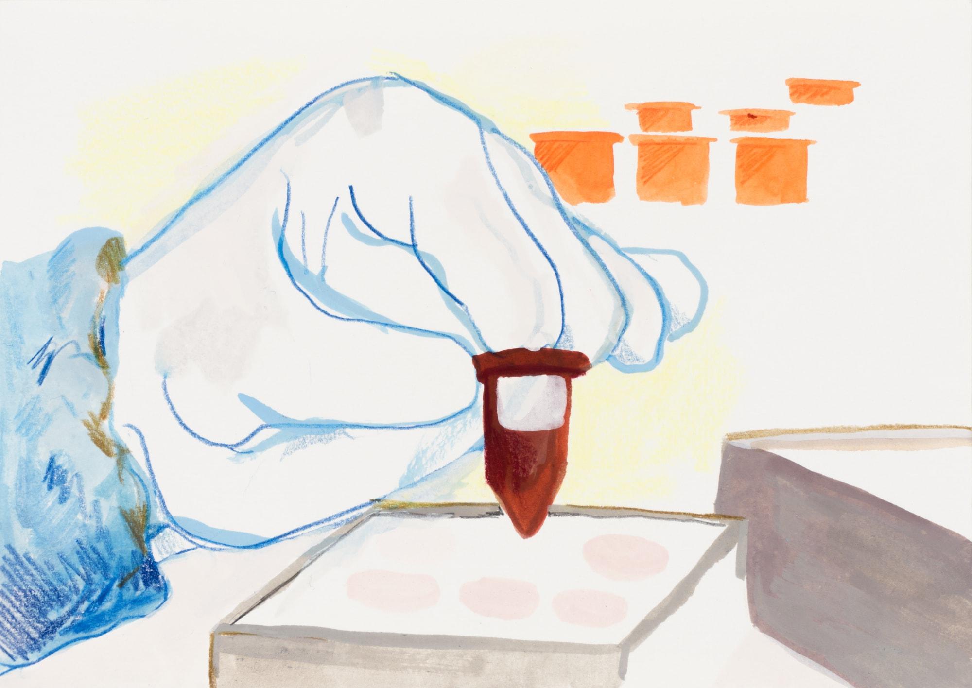 Zeichnung, Farbstift und Tusche auf Papier, 20,9x14,7cm, Medienbild Corona, Künstlerin: Franziska King
