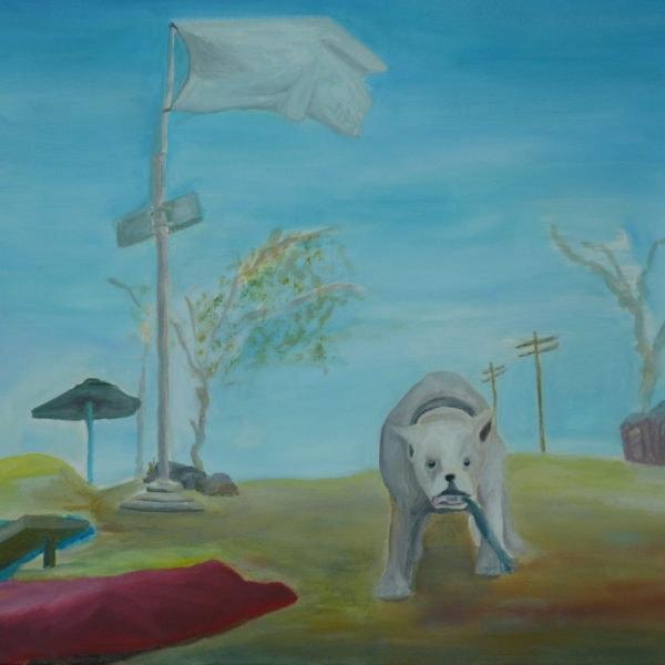 Malerei, Öl auf Leinwand, 40cm x 40cm, weisser Hund in stilisierter Landschaft, artist: Franziska King