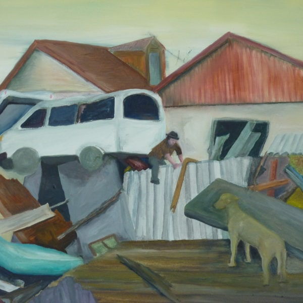 Malerei, Öl auf Leinwand, 40cm x 40cm, Verwüstung nach Erdbeben, artist: Franziska King