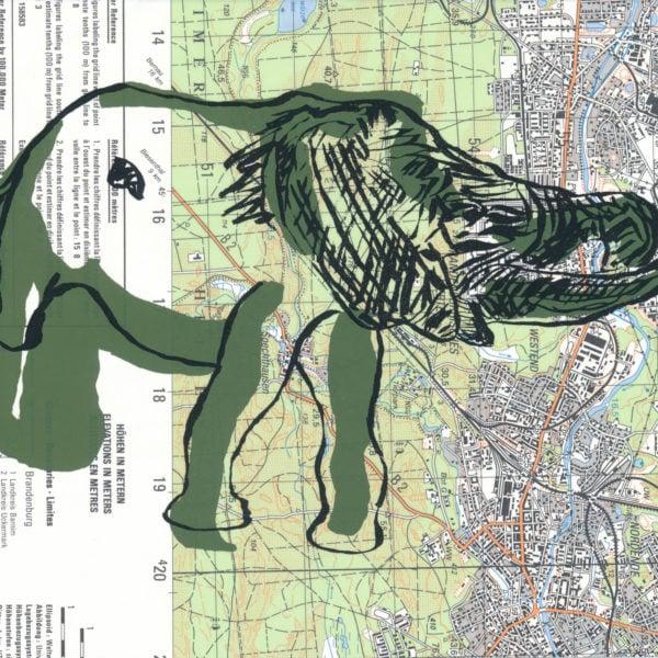 Druck, Siebdruck auf Landkarte, A5, Elephant, artist: Franziska King