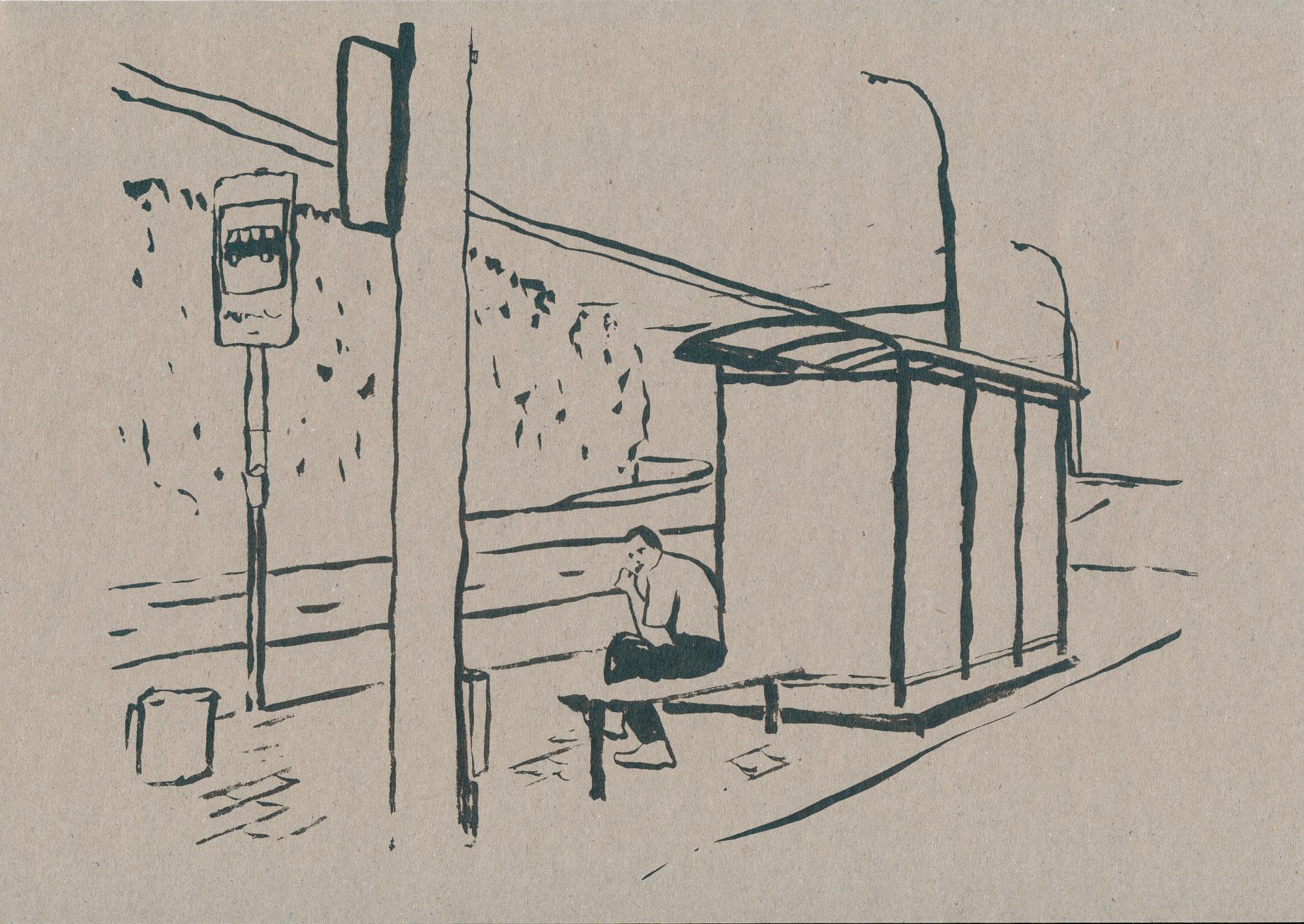 Druck, Siebdruck auf Holz, 42cm x 30cm, Mann sitzt an Haltestelle, artist: Franziska King