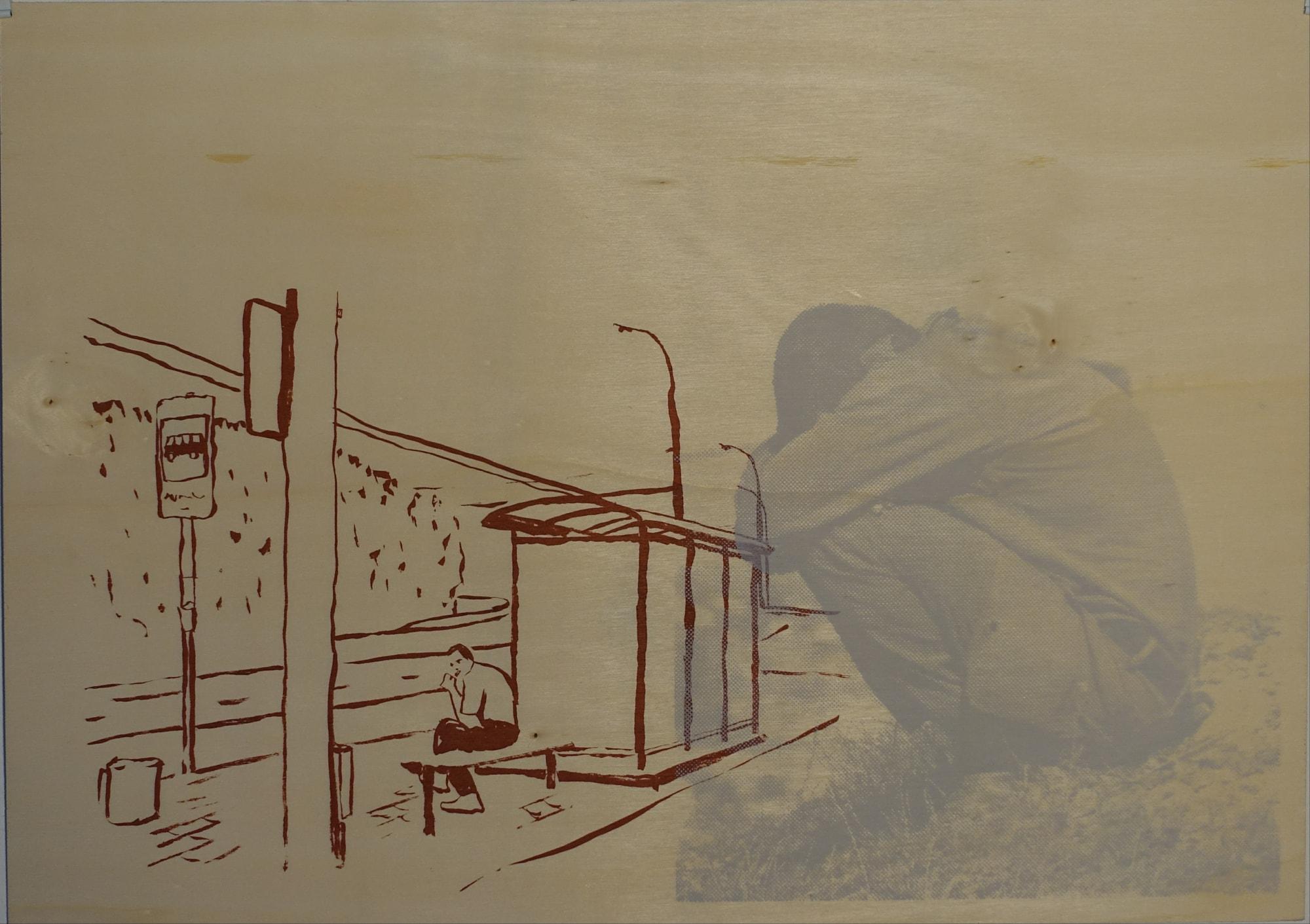 Druck, Siebdruck auf Holz, 42cm x 30cm, Mann sitzt an Haltestelle, überlagert von kauernder Figur, artist: Franziska King