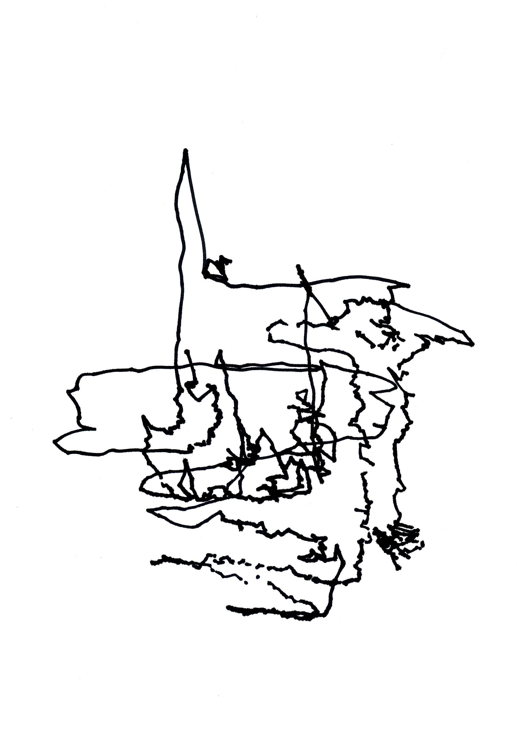 Zeichnung, Tusche auf Papier, 15cm x 21cm, seismographische Aufzeichnungen in öffentlichen Verkehr, artist: Franziska King