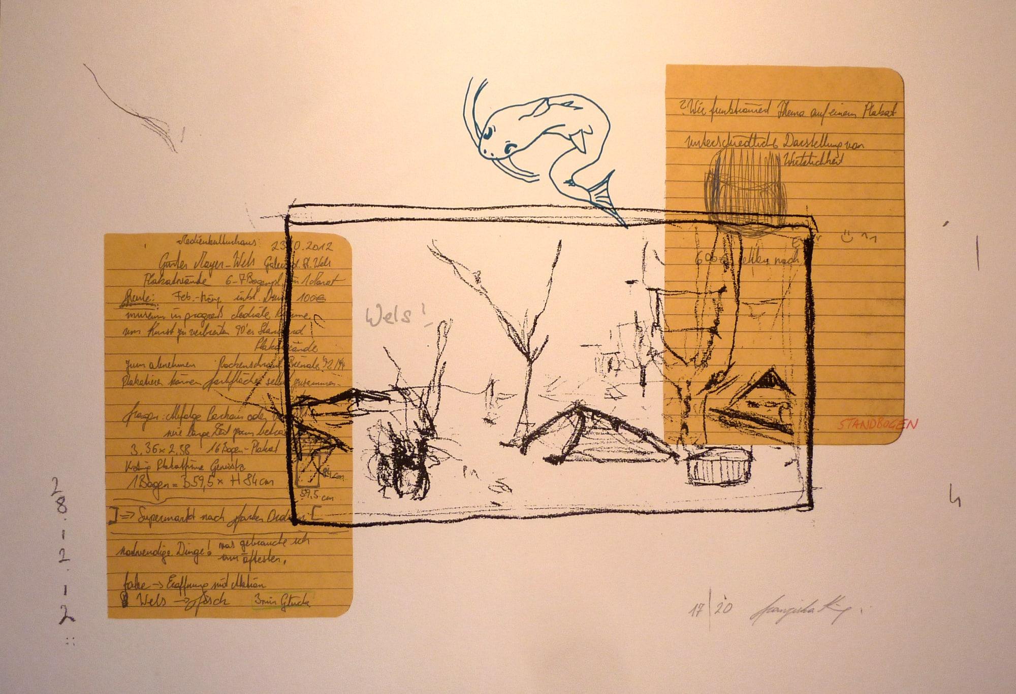 Siebdruck, 70cm x 50cm, Thema Wels, artist: Franziska King