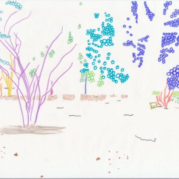 Zeichnung, Mischtechnik auf Papier, A4, abstrahierte Landschaft, artist: Franziska King