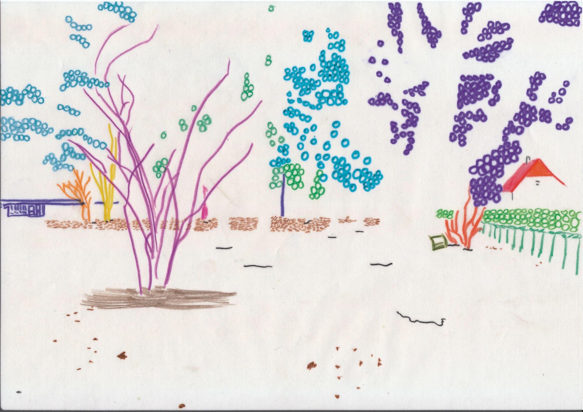 Zeichnung, Mischtechnik auf Papier digital bearbeitet, A4, abstrahierte Landschaft, artist: Franziska King
