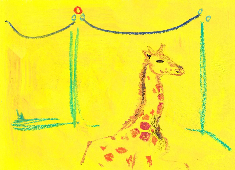 Malerei, Mischtechnik auf Papier, 21cm x 14,9cm, Giraffe im Zirkus, artist: Franziska King