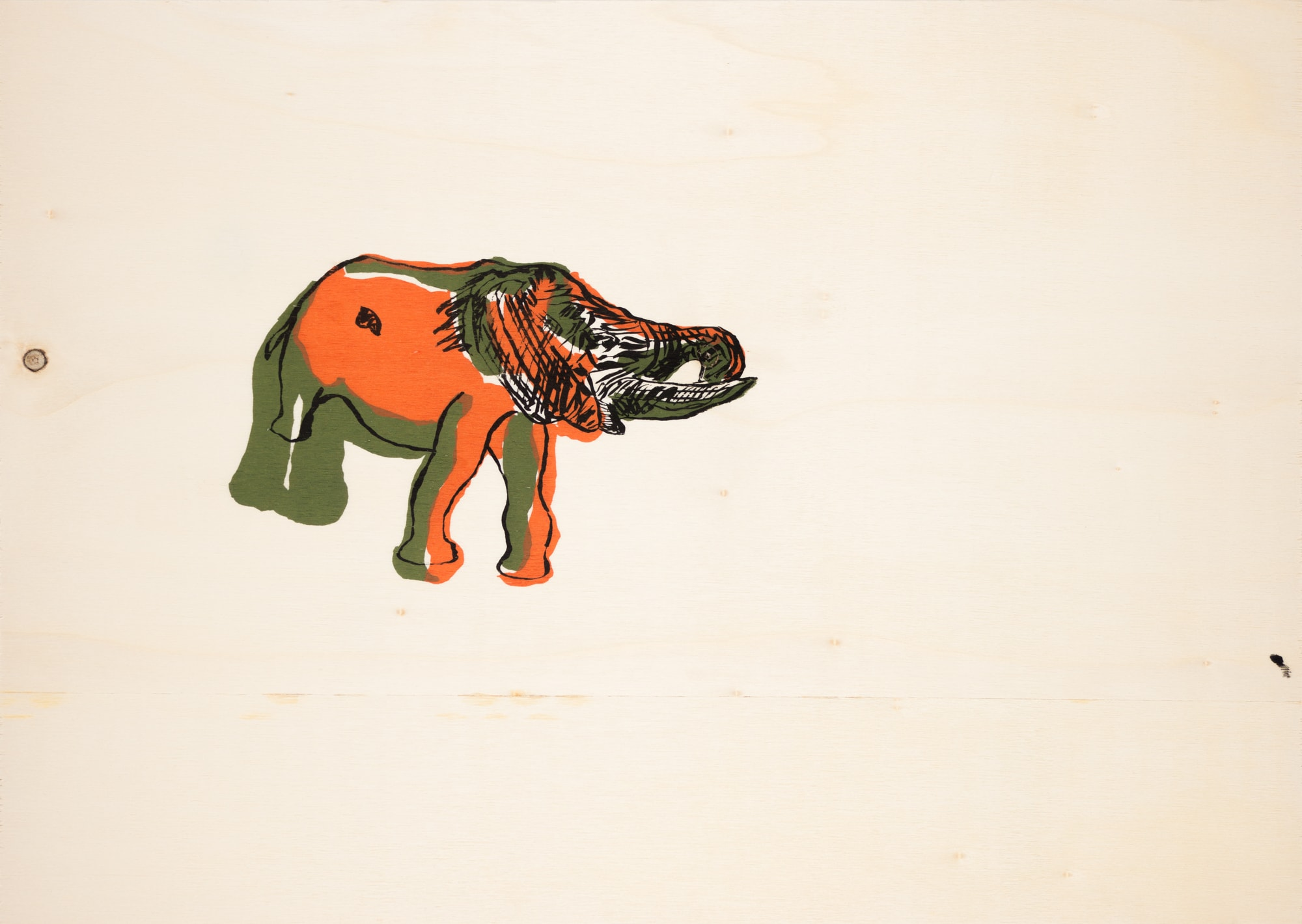 Druck, Siebdruck auf Holz, 42cm x 29,8cm, Elephant, artist: Franziska King