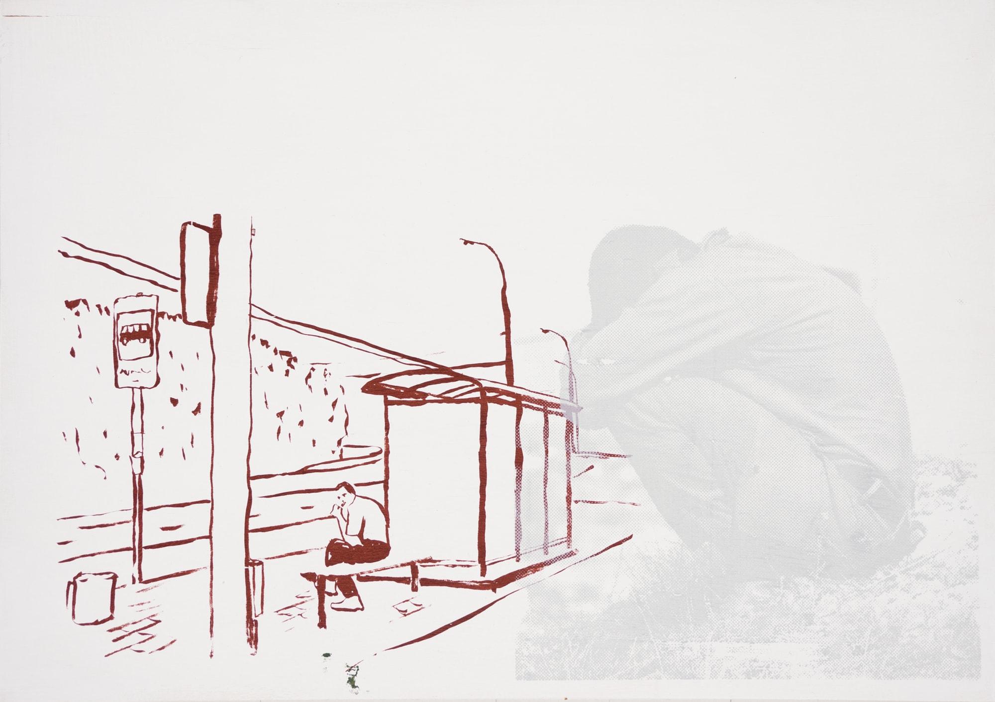 Druck, Siebdruck auf Holz, 42cm x 29,8cm, Mann sitzt an Haltestelle, überlagert von kauernder Figur, artist: Franziska King